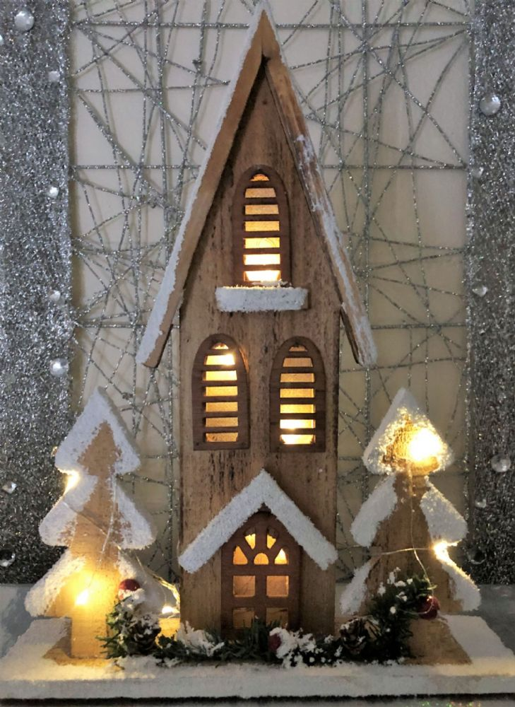 Church with Christmas Trees LED Wooden Mantel Ornament
